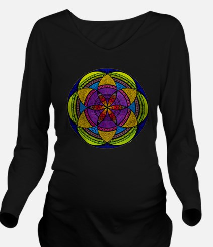 Cool Geometry Long Sleeve Maternity T-Shirt