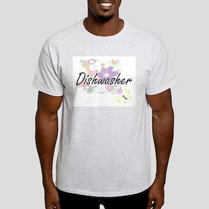 Dishwasher Artistic Job Design with Flower T-Shirt