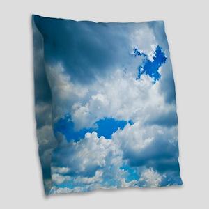 CUMULUS CLOUDS Burlap Throw Pillow