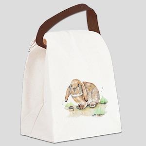 Watercolor Bunny Canvas Lunch Bag
