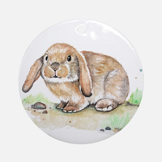 Watercolor Bunny Round Ornament