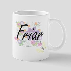 Friar Artistic Job Design with Flowers Mugs