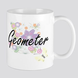 Geometer Artistic Job Design with Flowers Mugs