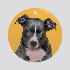 Pitbull puppy Round Ornament