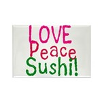 Love Peace Sushi Rectangle Magnet