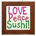 Love Peace Sushi Framed Tile