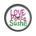 Love Peace Sushi Wall Clock
