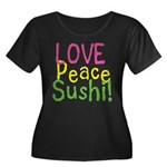 Love Peace Sushi Women's Plus Size Scoop Neck Dark