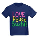 Love Peace Sushi Kids Dark T-Shirt