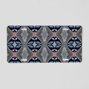 Patternized Male Downy Woodpecker Aluminum License