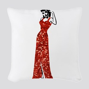 red vintage burlesque pin up Woven Throw Pillow