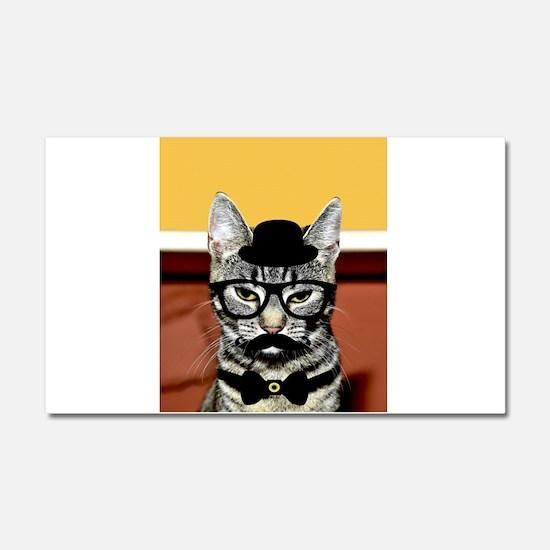 Hipster Cat Car Magnet 20 x 12