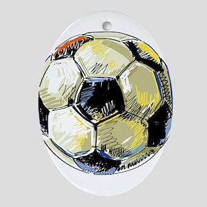 Hand Drawn Football Oval Ornament