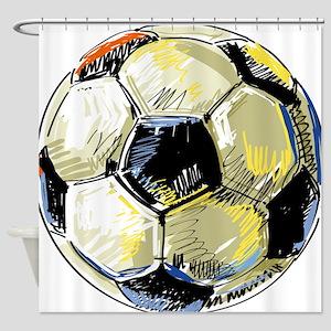 Hand Drawn Football Shower Curtain