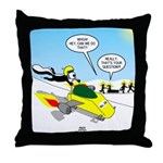 Skunk Jet Sled Throw Pillow