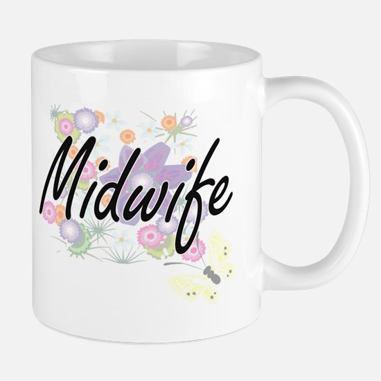 Midwife Artistic Job Design with Flowers Mugs