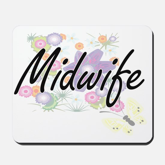 Midwife Artistic Job Design with Flowers Mousepad