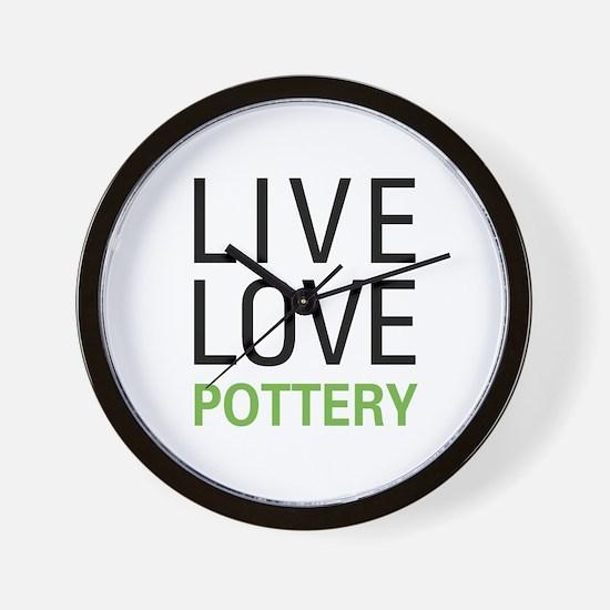 Live Love Pottery Wall Clock
