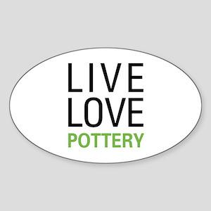 Live Love Pottery Oval Sticker