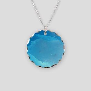 LIGHT TURQUOISE ICE Necklace Circle Charm