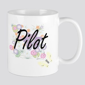 Pilot Artistic Job Design with Flowers Mugs