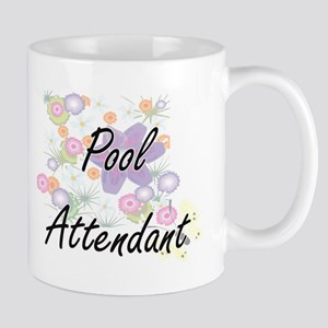 Pool Attendant Artistic Job Design with Flowe Mugs