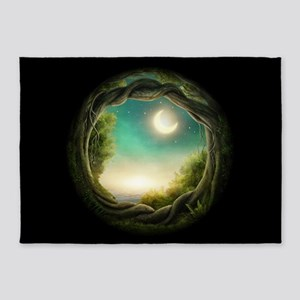 Magic Moon Tree 2 5'x7'Area Rug