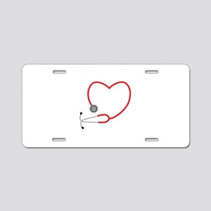 Heart Stethescope Aluminum License Plate
