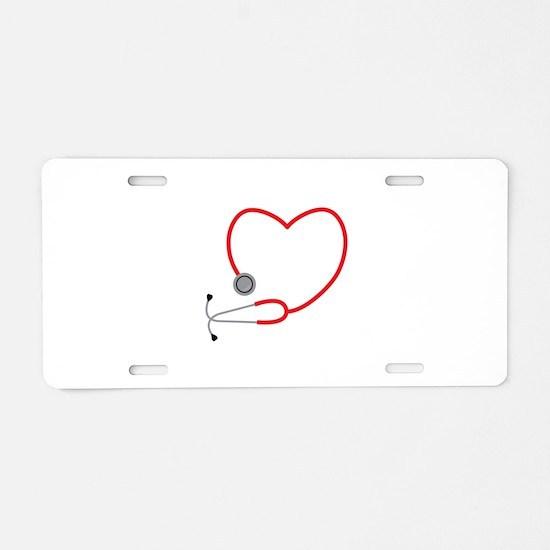 Heart Stethescope Aluminum License Plate
