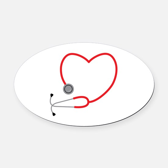 Heart Stethescope Oval Car Magnet