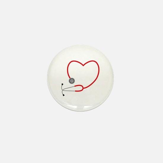 Heart Stethescope Mini Button
