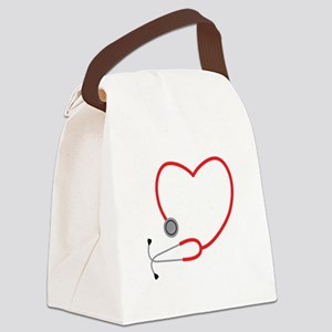 Heart Stethescope Canvas Lunch Bag