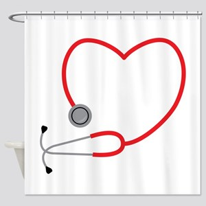 Heart Stethescope Shower Curtain