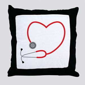 Heart Stethescope Throw Pillow