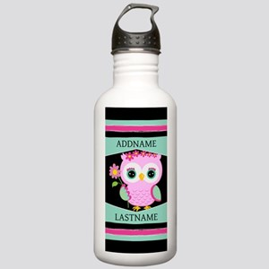 Personalized Pink Owl Stainless Water Bottle 1.0L