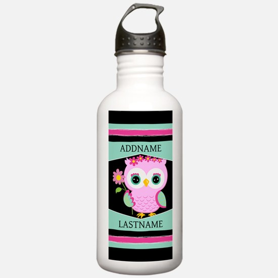 Personalized Pink Owl Water Bottle