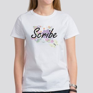 Scribe Artistic Job Design with Flowers T-Shirt