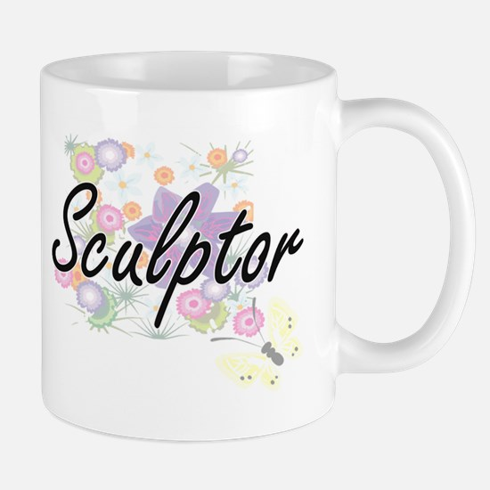 Sculptor Artistic Job Design with Flowers Mugs