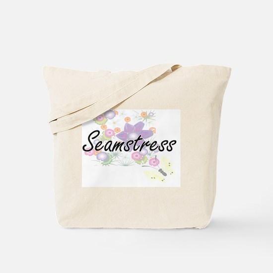 Seamstress Artistic Job Design with Flowe Tote Bag