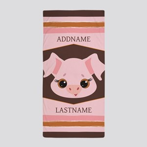 Personalized Name Pig Face Beach Towel