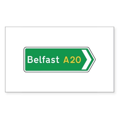 Belfast Roadmarker, UK Rectangle Sticker