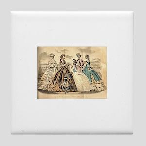 Godey's Ladies Book Victorian Fashion Tile Coaster