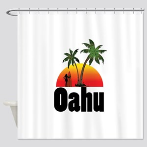 Oahu Surfing Shower Curtain