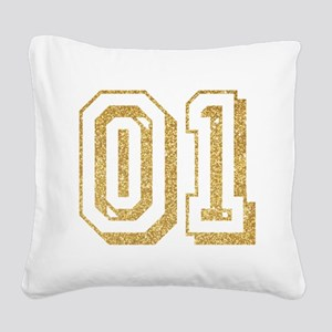 Glitter Number 1 Sports Jerse Square Canvas Pillow