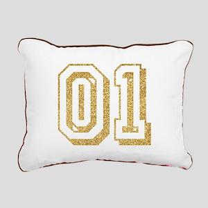 Glitter Number 1 Sports Rectangular Canvas Pillow