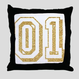 Glitter Number 1 Sports Jersey Throw Pillow