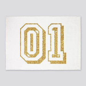 Glitter Number 1 Sports Jersey 5'x7'Area Rug