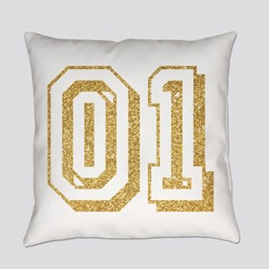 Glitter Number 1 Sports Jersey Everyday Pillow