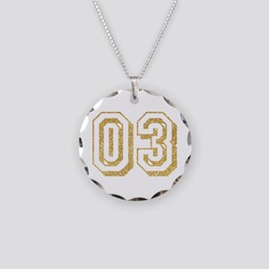 Glitter Number 3 Sports Jers Necklace Circle Charm