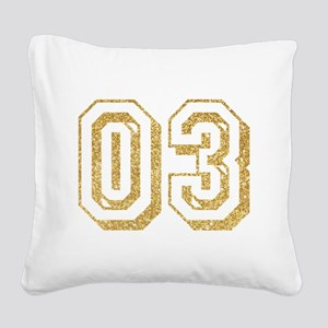 Glitter Number 3 Sports Jerse Square Canvas Pillow